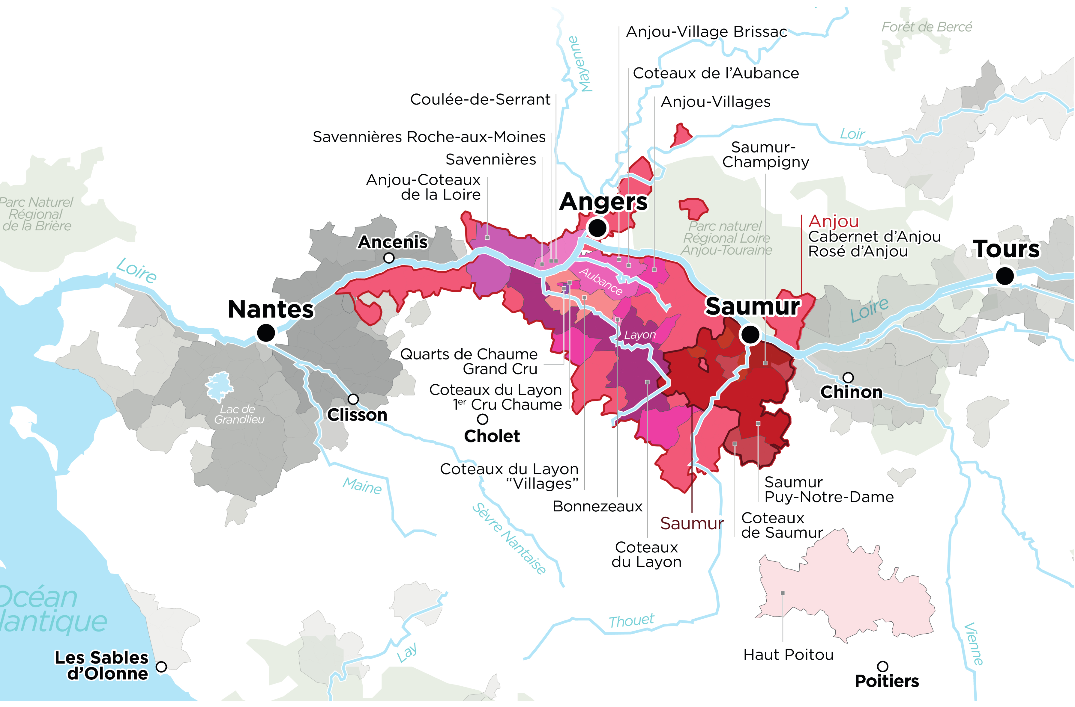 Map of Anjou saumur Wine's Region