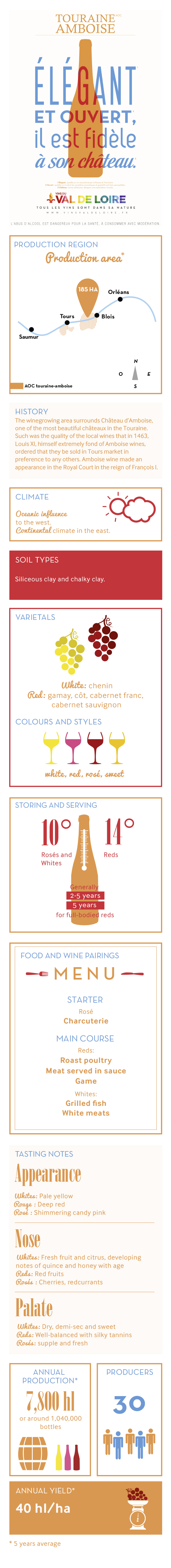 Illustrated product sheet of Touraine Amboise, its grape variety, its production, its tasting ...