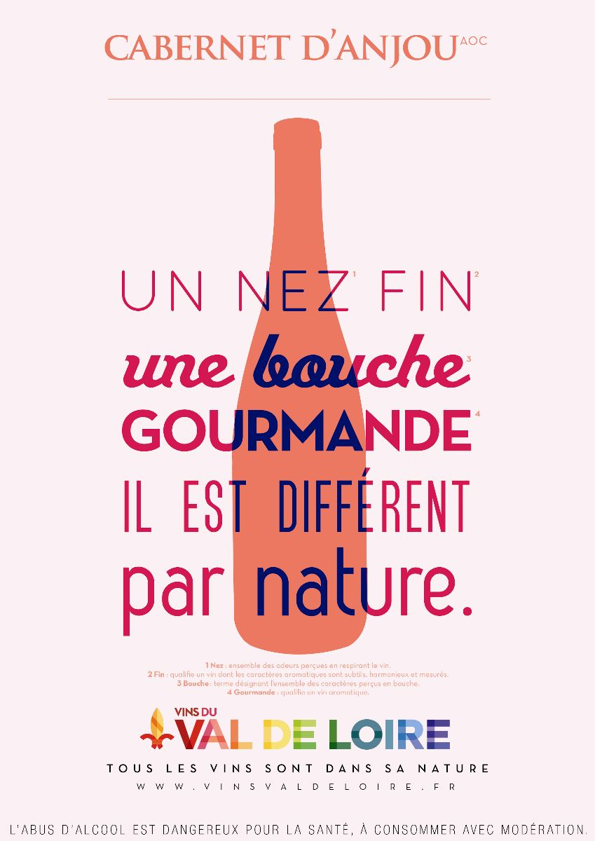 Affiche du Cabernet d'Anjou, un vin rosé doté d'une grande finesse aromatique