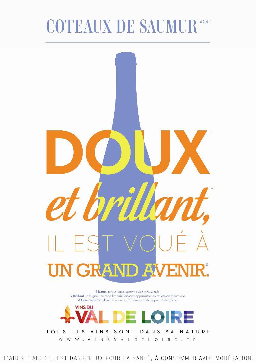 Affiche du Coteaux de Saumur, un vin moelleux doux et brillant