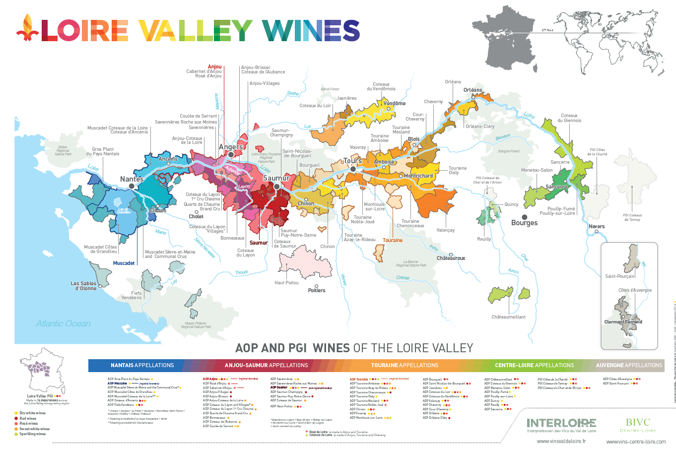 Loire Valley wines map