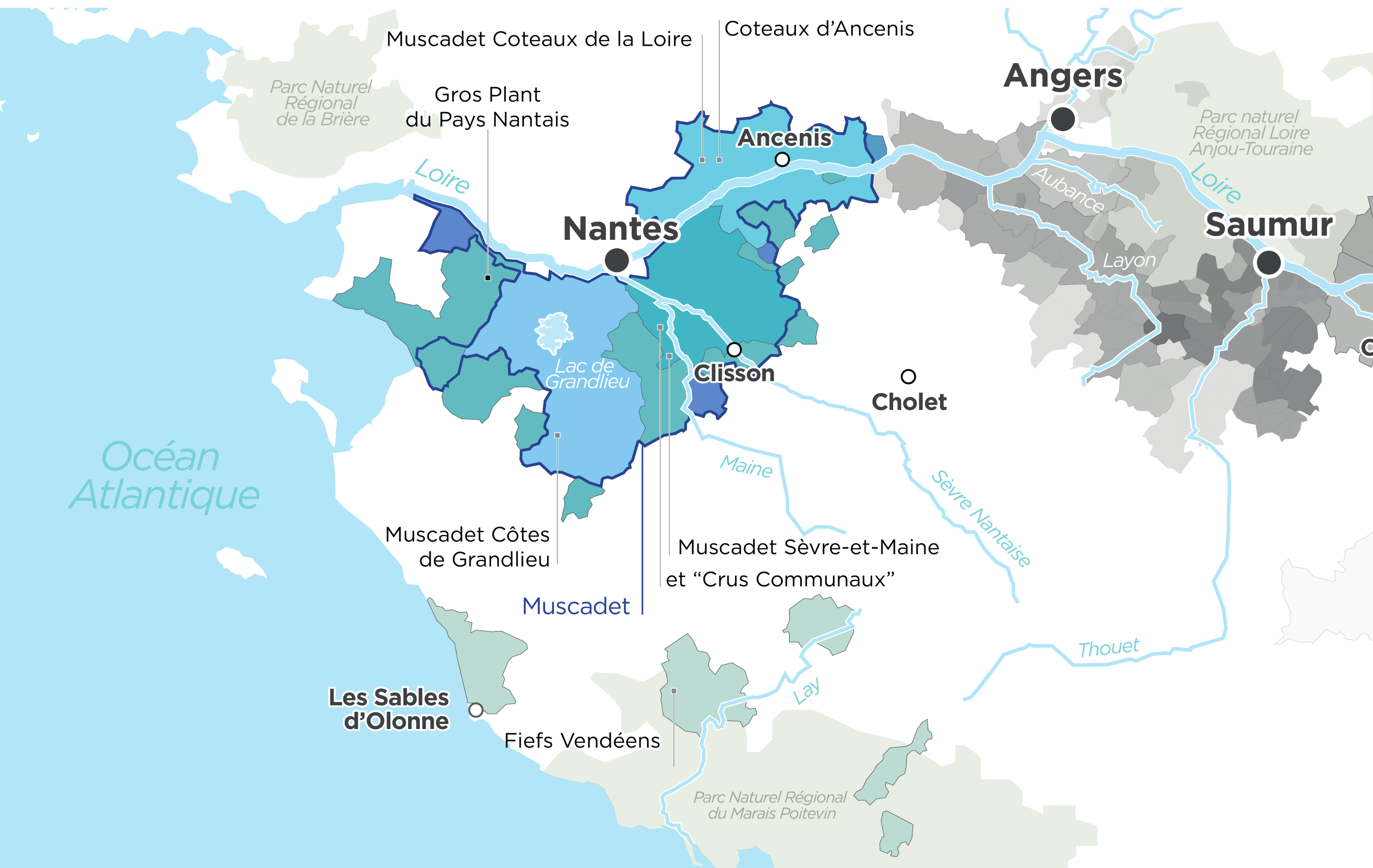 Map of Muscadet Wine's Region