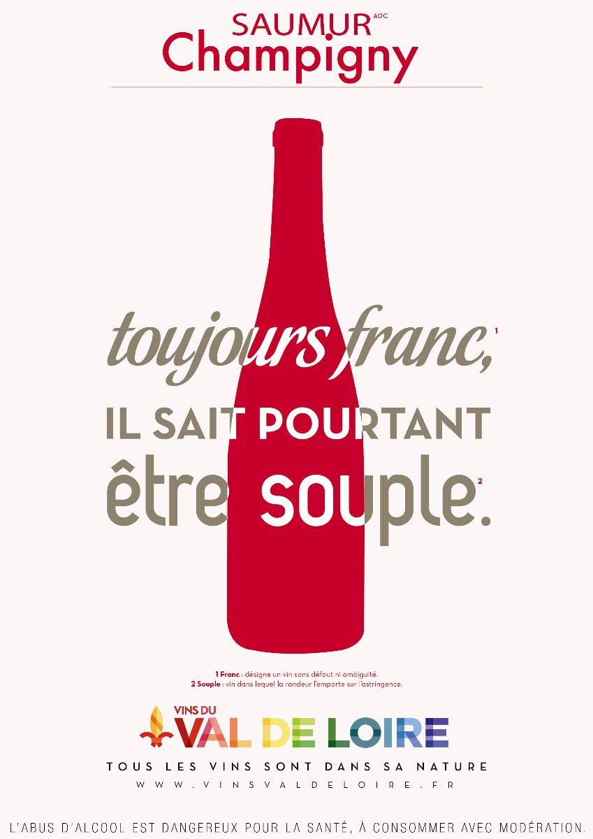 Affiche du Saumur Champigny, un vin rouge franc mais souple