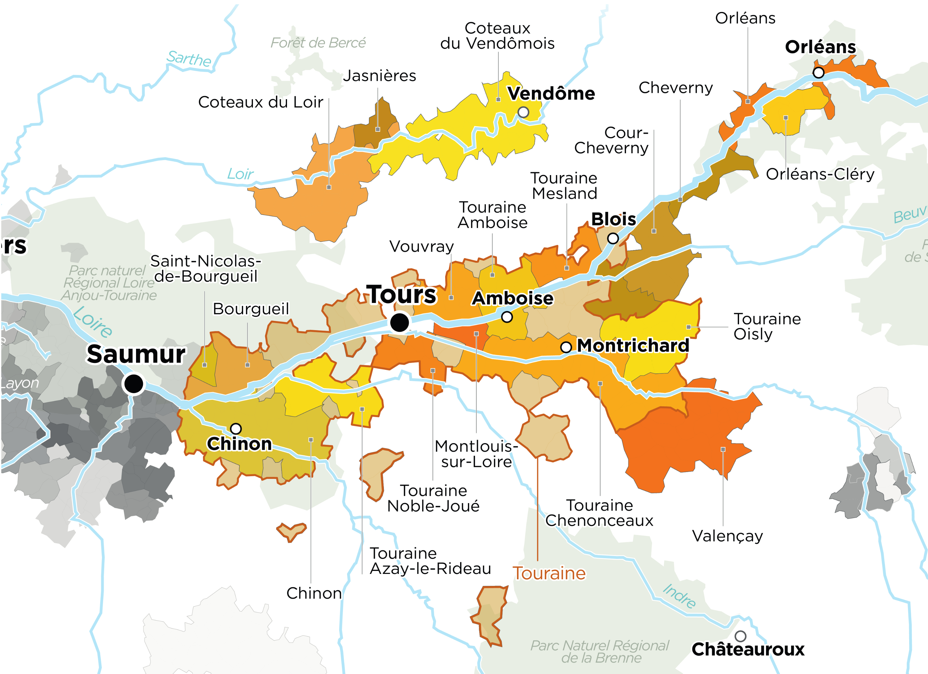 Map of Touraine Wine's Region